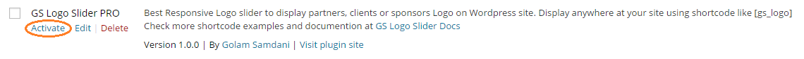 activate GS Logo slider plugin